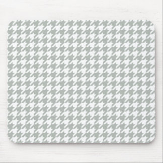 Silver Gray Houndstooth Mouse Pad