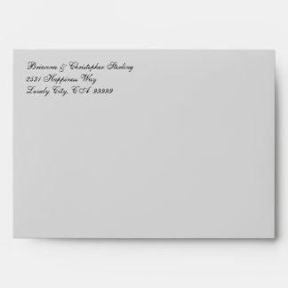Silver Gray Invitation Envelopes Gray Swirl Damask