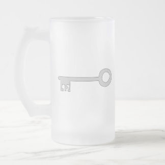 Silver Gray Key on White. Frosted Glass Beer Mug
