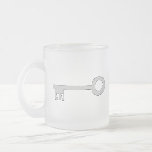Silver Gray Key on White. Frosted Glass Coffee Mug