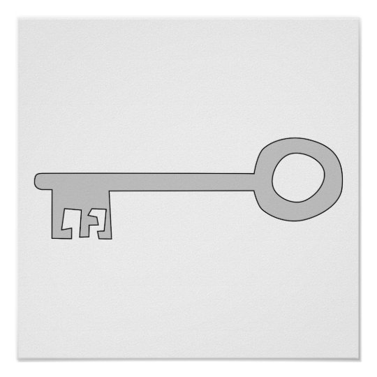 Silver Gray Key on White. Poster