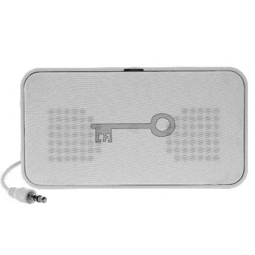 Silver Gray Key on White. Travelling Speaker