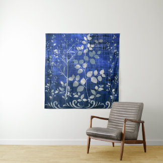 Silver gray leaves in the night Wall DecorTapestry Tapestry