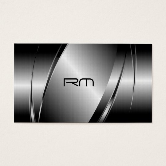 Silver Gray Metallic Look-Stainless Steel Pattern Business Card