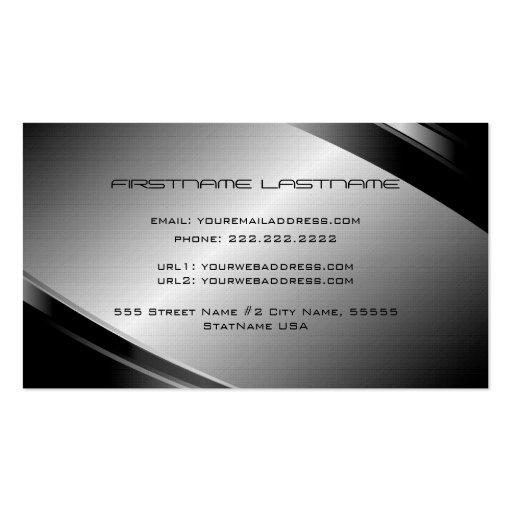 Silver Gray Metallic Look-Stainless Steel Pattern Business Card (back side)