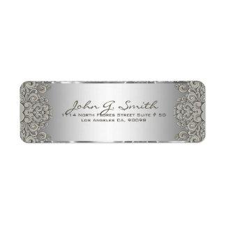 Silver Gray Metallic Pattern Floral Swirls Label