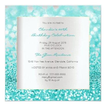 Beach Themed Silver Gray Minimal Birthday Tiffany Ocean Glitter Card