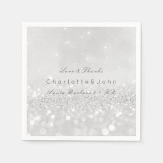 Silver Gray Minimal White Sparkly Glitter Custom Paper Napkin