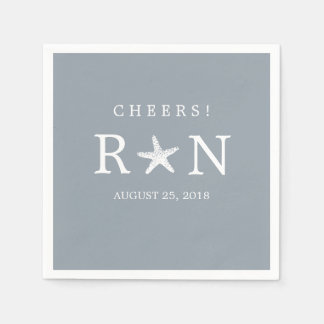 Silver Gray Monogram Starfish | Wedding Paper Napkin