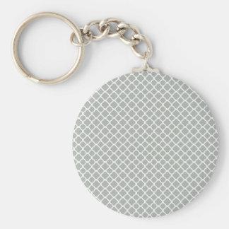 Silver Gray Moroccan Trellis Key Chains