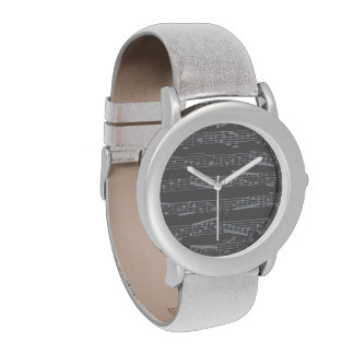 Silver Gray music notes Watches