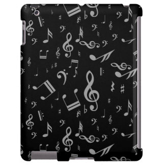 Silver Gray Musical Notes on Black