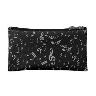 Silver Gray Musical Notes on Black Cosmetics Bags
