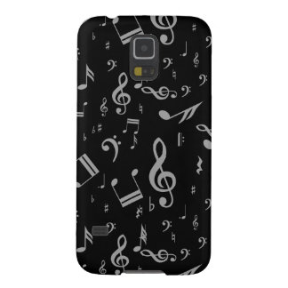 Silver Gray Musical Notes on Black Galaxy S5 Case