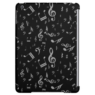 Silver Gray Musical Notes on Black iPad Air Cover