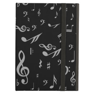Silver Gray Musical Notes on Black iPad Air Cases