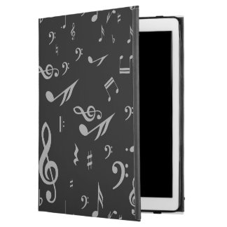 "Silver Gray Musical Notes on Black iPad Pro 12.9"" Case"