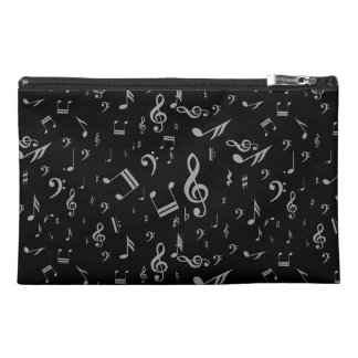 Silver Gray Musical Notes on Black Travel Accessory Bag