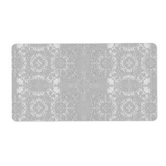 Silver Gray Muted Vintage Lace Theme Label