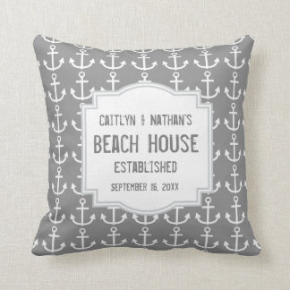 Silver Gray Nautical Theme with Anchors A03B Throw Pillow