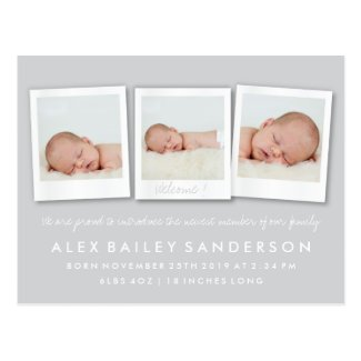 Silver Gray New Baby Birth Announcement Photo Postcard