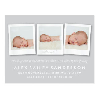 Silver Gray New Baby Birth Announcement Photo Postcard