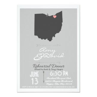 Silver Gray Ohio State Rehearsal Dinner Invitation