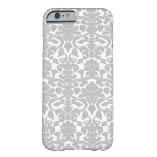 Silver Gray Ornate Floral Damask Pattern iPhone 6 Case