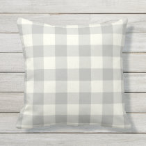 Silver Gray Outdoor Pillows - Gingham Pattern