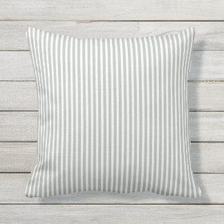 Silver Gray Outdoor Pillows - Oxford Stripe