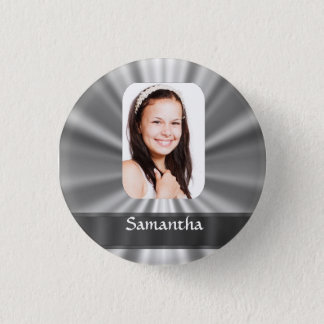 Silver gray personalized photo template pinback button