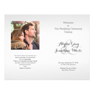 Silver Gray Photo Wedding Program Folded