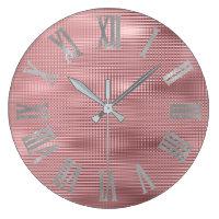 Silver Gray Pink Bean Lines Metallic Roman Numers Large Clock