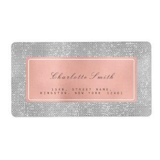 Silver Gray Pink Rose Gold Return Address Labels