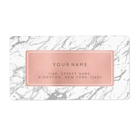 Silver Gray Pink Rose Marble Return Address Labels