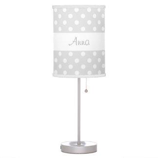 Silver Gray Polka Dots Custom Name V082 Table Lamps