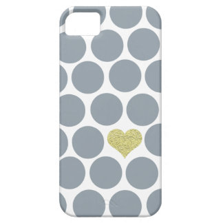 Silver Gray Polka Dots Glitter Heart iPhone iPhone SE/5/5s Case