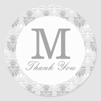 Silver Gray Print Pattern -  Thank You Monogram Classic Round Sticker