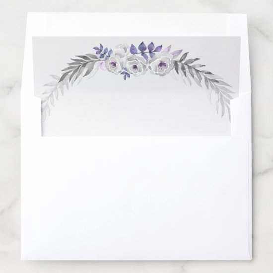 Silver Gray Purple Watercolor Flowers on Silver Envelope Liner
