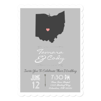 Silver Gray Scallop Ohio State Wedding Invitation