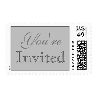 Silver Gray Script You're Invited Wedding Postage