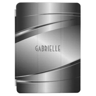 Silver Gray Shiny Metallic Brushed Aluminum Look iPad Air Cover