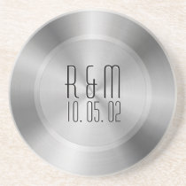 Silver Gray Stainless Steel 2 Look Monogram Drink Coaster