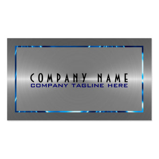 Silver Gray Stainless Steel Look Blue Accents Double-Sided Standard Business Cards (Pack Of 100)
