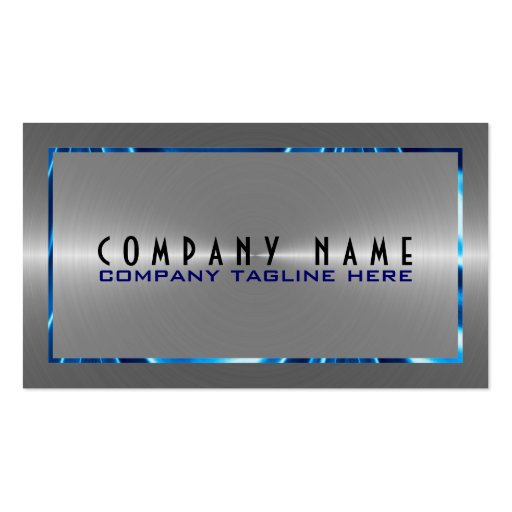 Silver Gray Stainless Steel Look Blue Accents Business Cards