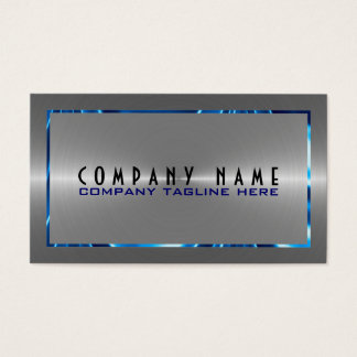 Silver Gray Stainless Steel Look Blue Accents Business Card