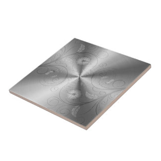 Silver Gray Stainless Steel With Floral Design Ceramic Tile