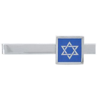 Silver Gray Star of David on Blue Silver Finish Tie Clip