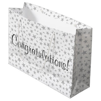 Silver Gray Stars Print Pattern Large Gift Bag
