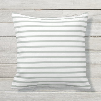 Silver Gray Summer Stripes Outdoor Pillows